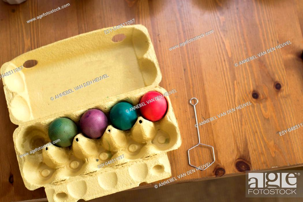 Stock Photo: Colorful easter eggs. Coloring. Preparation of the Easter, painting eggs, colorful.