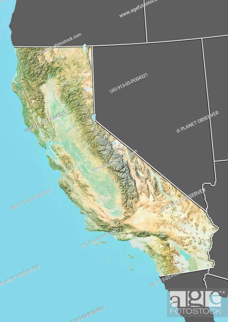 Relief map of the State of California, United States. This image was on