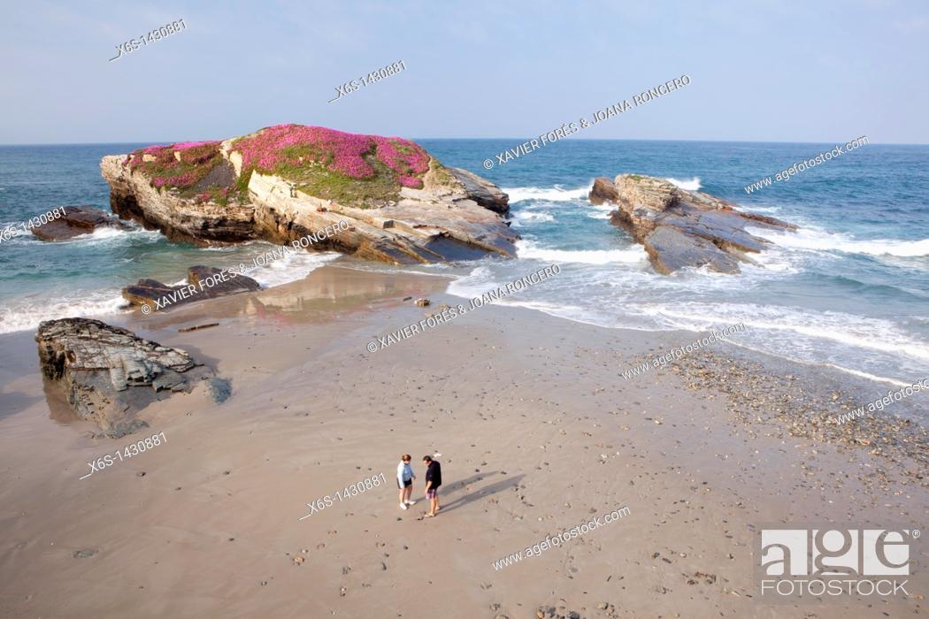 Stock Photo: Beach of the Castros - Praia Os Castros-Illas -, Ribadeo, Lugo, Galicia, Spain.