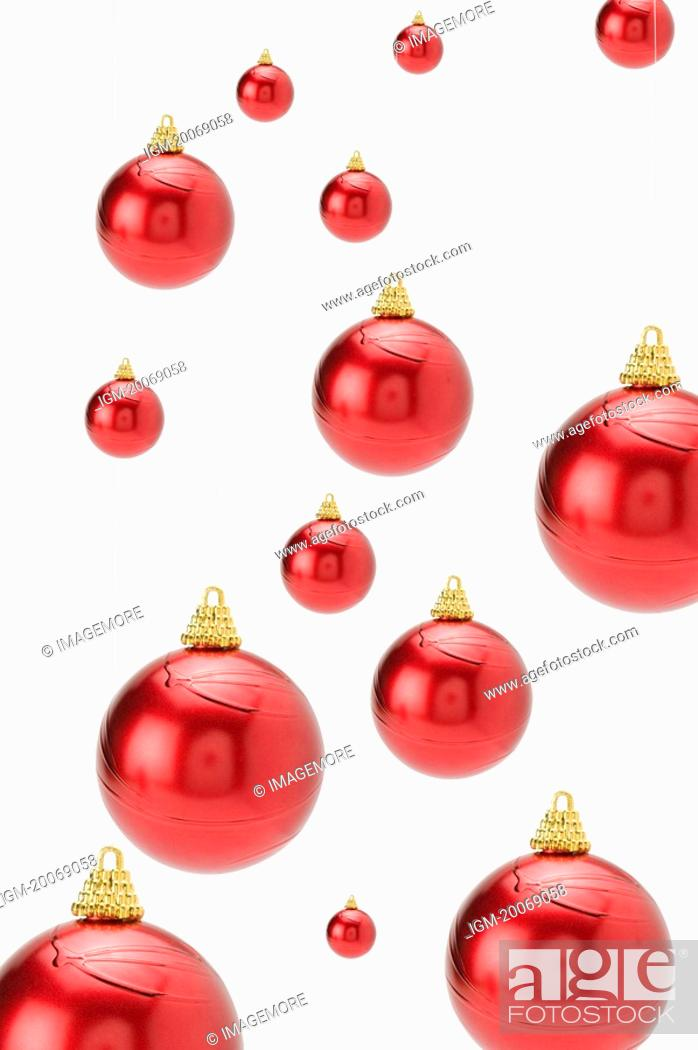 Stock Photo: Red Christmas baubles.