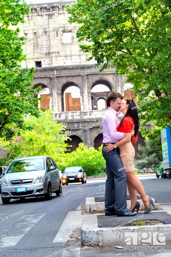 Stock Photo: Couple at the Roman Coliseum Rome Italy.