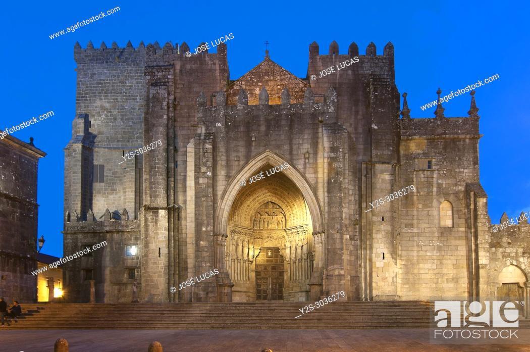 Stock Photo: Romanesque cathedral of Santa Maria - 12th century, Tuy, Pontevedra province, Region of Galicia, Spain, Europe.