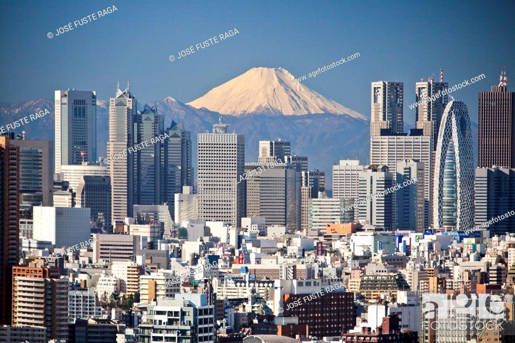 Stock Photo: Shinjuku district and Mount Fuji, Tokyo, Japan.