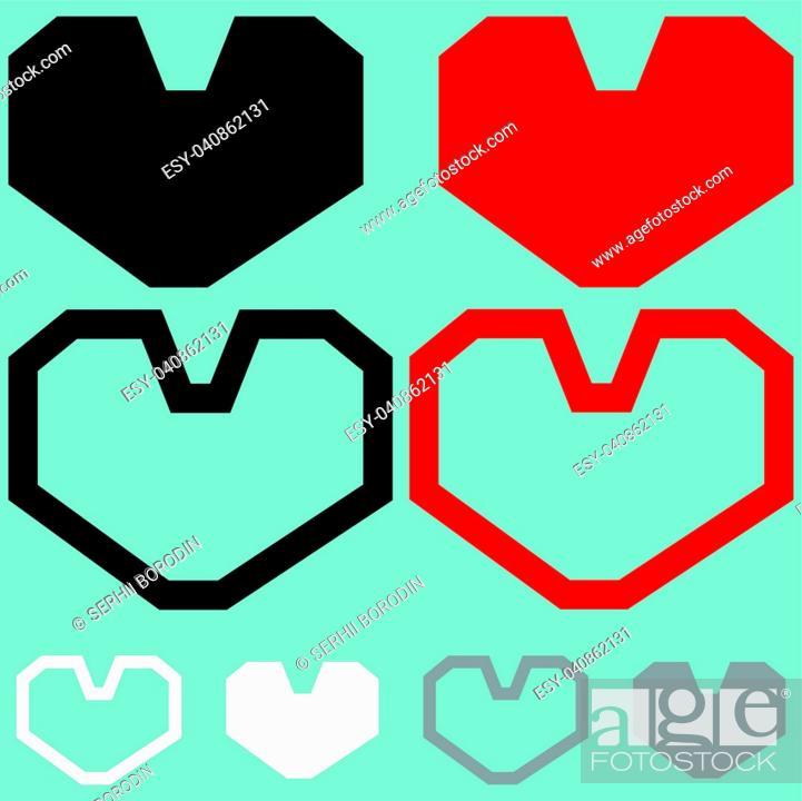 Vector: Heart red black white colour set.