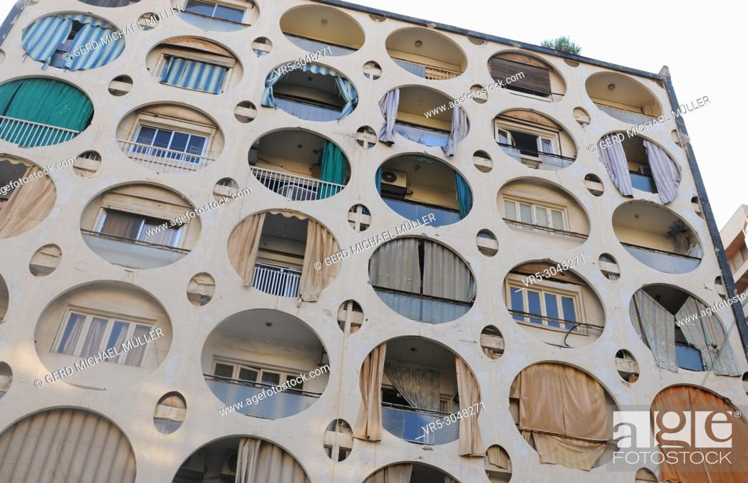 Stock Photo: Lebanon: A builiding in Beirut with round windows.