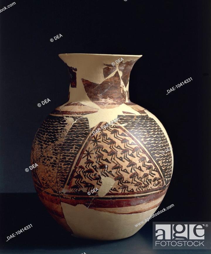 Prehistory Iraq Halaf Culture Ceramic Vase Painted With Geometric