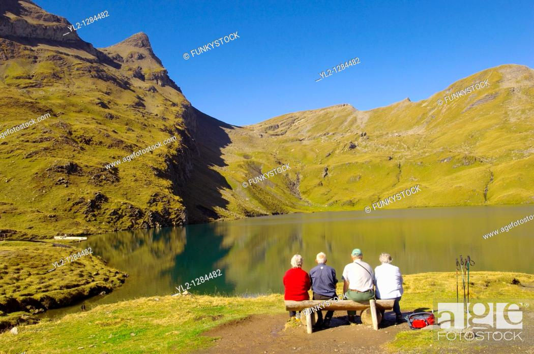 Stock Photo: Grindelwald First Lake- Bernese Alps - Switzerland.