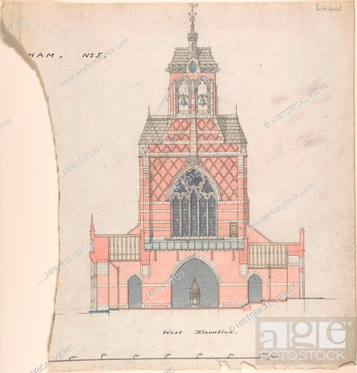 Stock Photo: West Elevation of an Unidentified Church. Artist: William Butterfield (British, London 1814-1900 London); Date: 19th century; Medium: Brush and watercolor.
