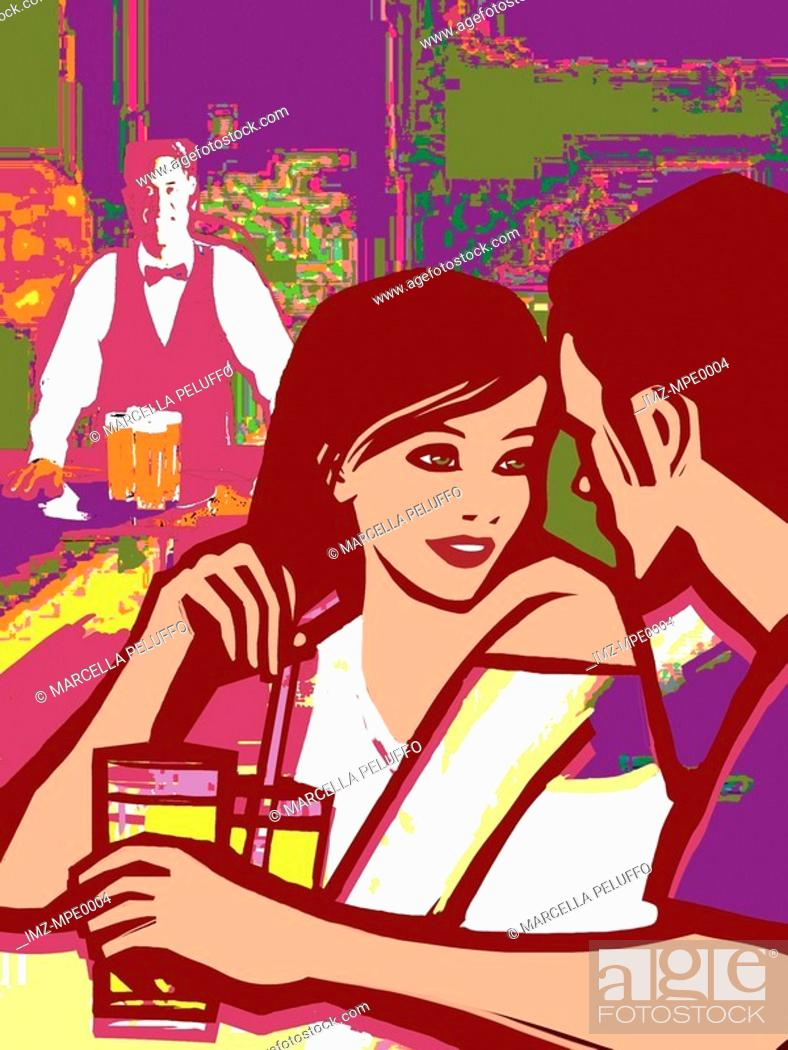 Stock Photo: An illustration of a man and woman on a date.