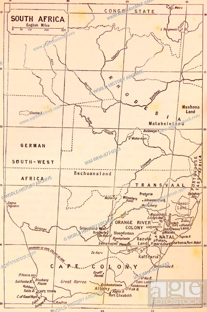 19th Century Africa Map.Map Of South Africa During The 19th Century Stock Photo Picture
