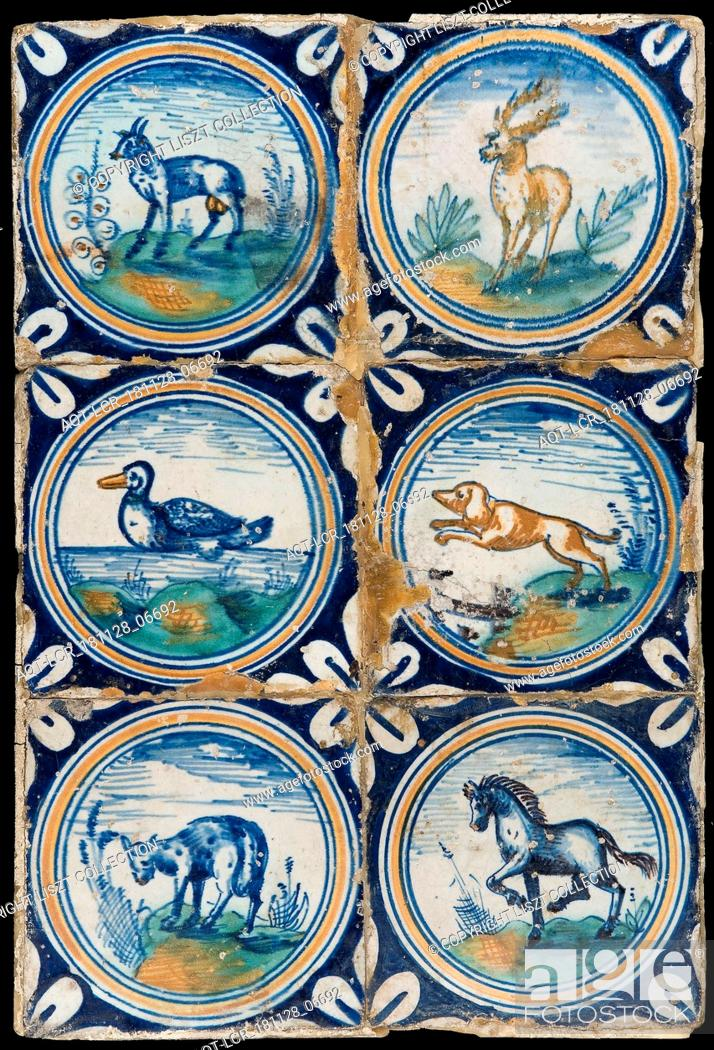 Stock Photo: Tile field, six tiles, animal decor, orange, green and blue on white, including deer, duck, dog and horse, in circle with quarter rosette in saving technique.