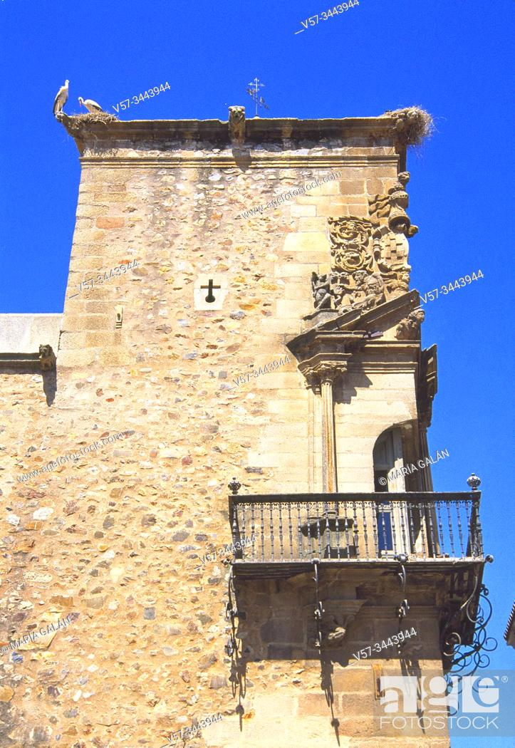 Stock Photo: Corner balcony. Godoy Palace, Caceres, Spaain.