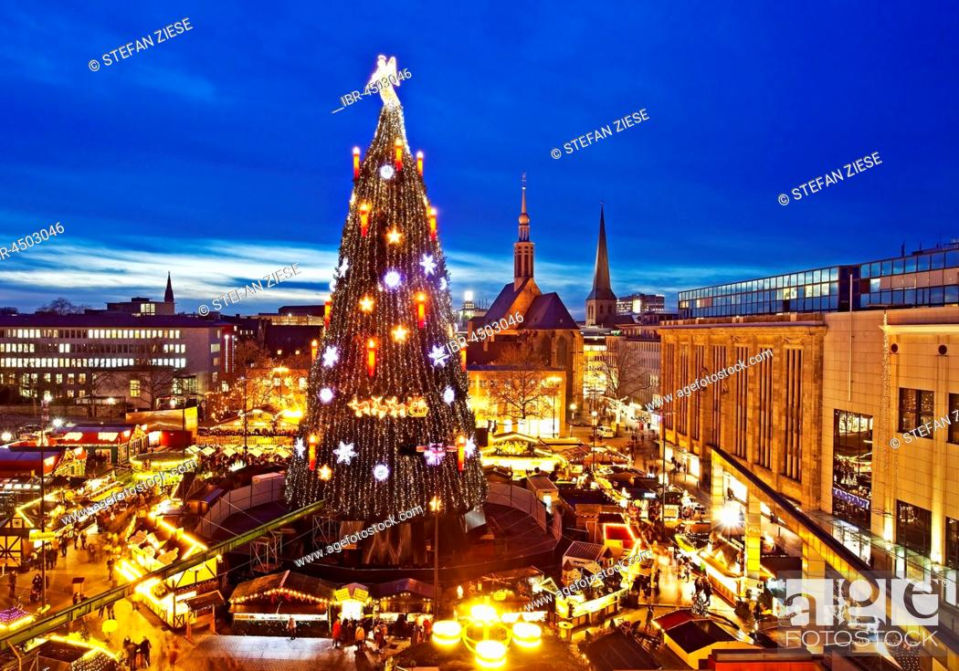 Christmas Tree And Christmas Market On Hansaplatz Dortmund North Rhine Westphalia Germany Stock Photo Picture And Rights Managed Image Pic Ibr 4503046 Agefotostock