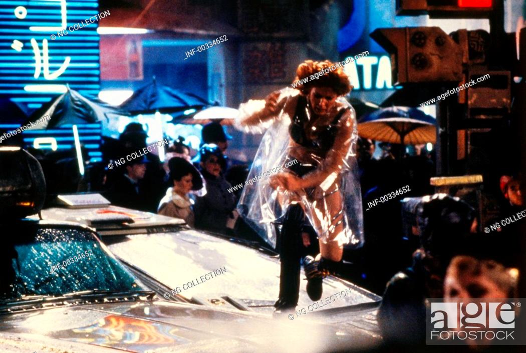 Stock Photo: movie, Blade Runner, USA 1982, director: Ridley Scott, scene with: Daryl Hannah, science fiction, sci-fi, running away, absconding, street, walking over cars.