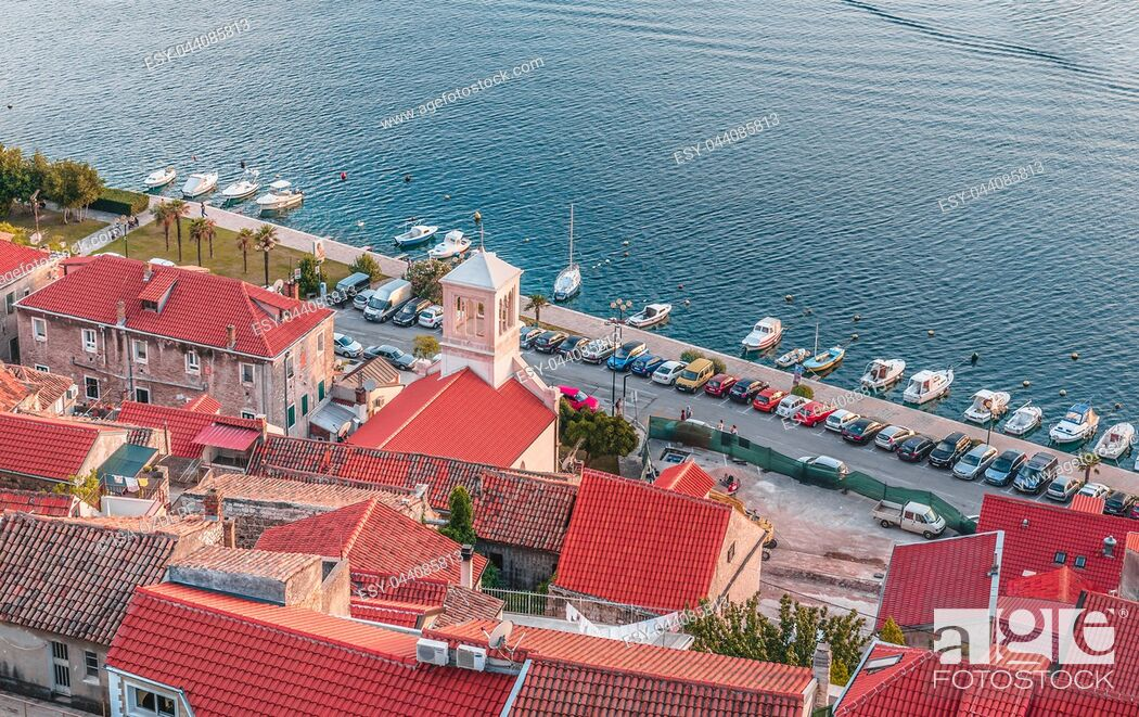 Stock Photo: Aerial top day View of Sibenik town and its old houses in Sibenik, Croatia.