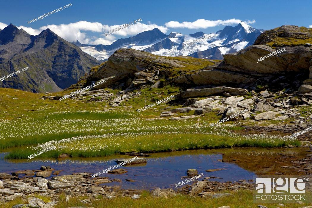 Stock Photo: Austria, Tyrol, Zillertal, Berlin high route view to Großer Möseler.