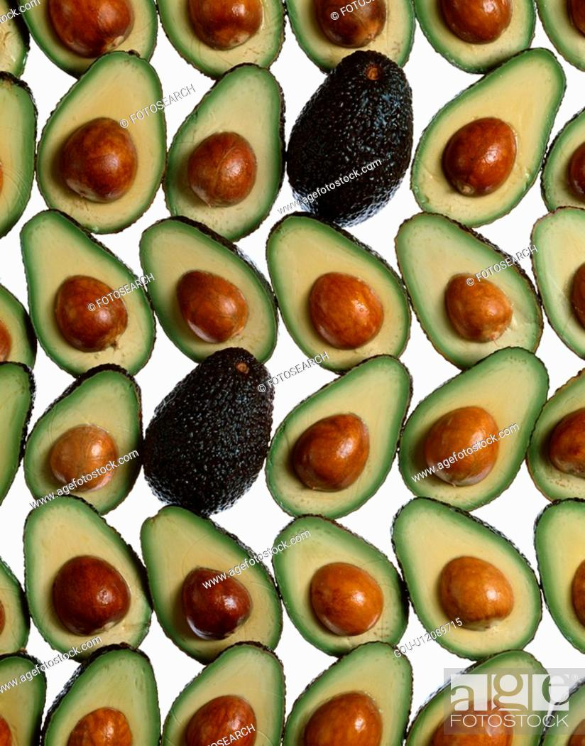 Stock Photo: Avocado Halves.