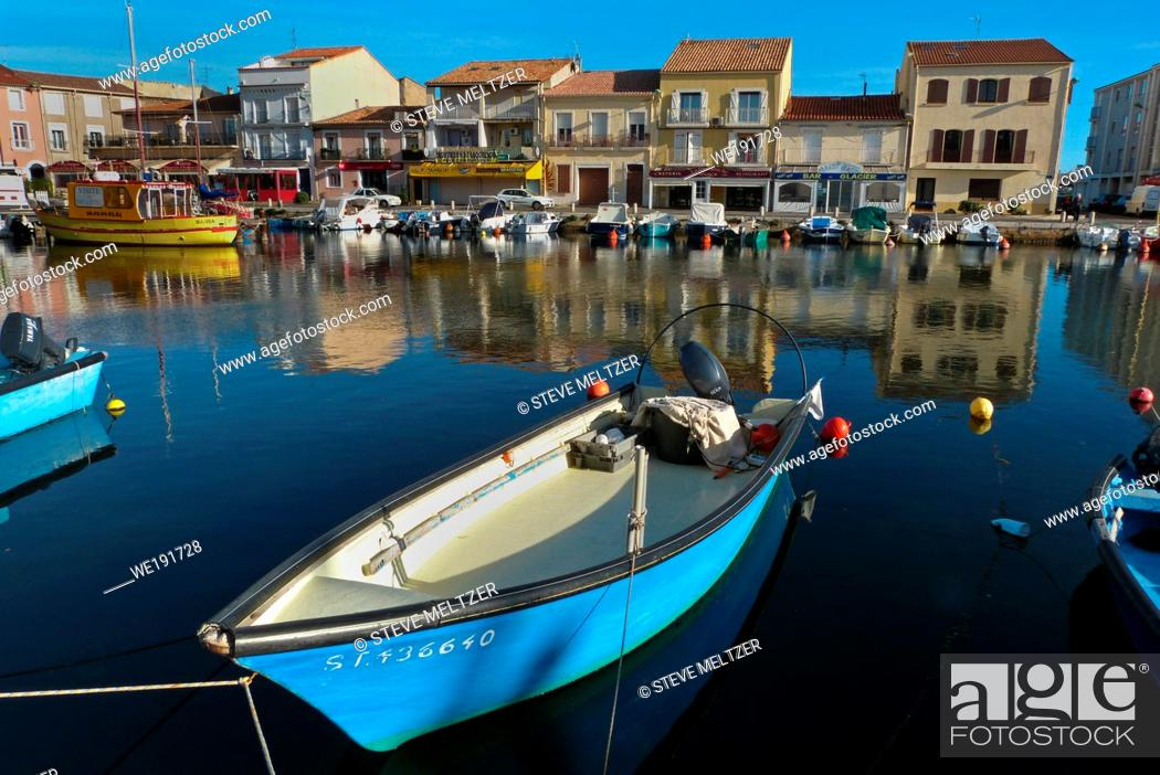 Stock Photo: The blue water of the picturesque Port of Meze, France.