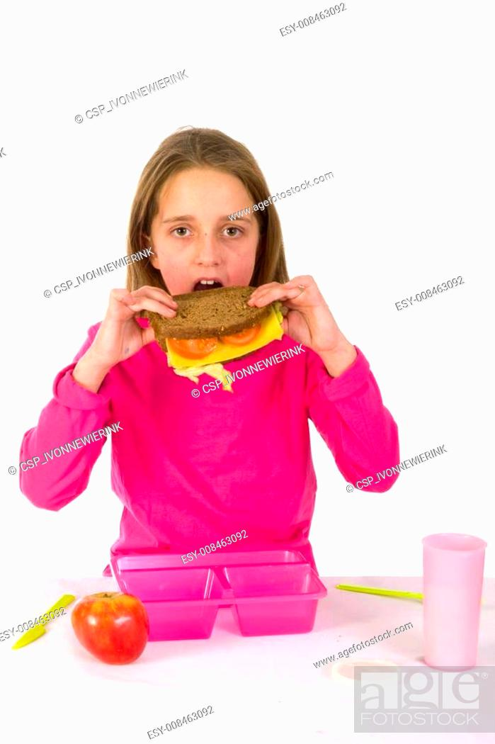 Stock Photo: Healthy lunch at school.