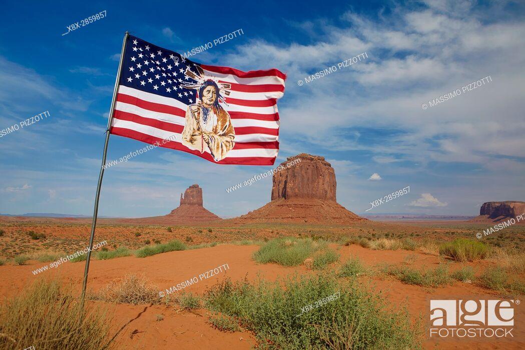 Stock Photo: Navajo flag in the Monument Valley, Arizona, United States.