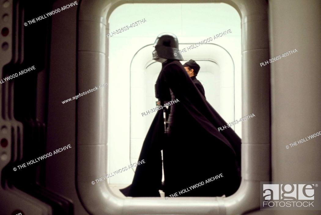 Stock Photo: Darth Vader on the Tantive IV set in Star Wars Episode IV: A New Hope (1977).