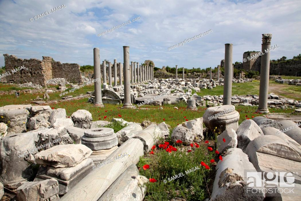 Stock Photo: The agora was built in the 2nd century AD. It was a huge structure, originally consisting of a courtyard surrounded by colonnades containing shops.