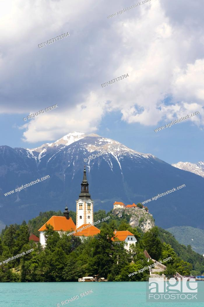 Stock Photo: Lake Bled with mountains in Slovenia.