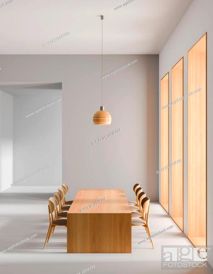 Stock Photo: Spacious modern dining room. Minimalist dining room design. 3D illustration.