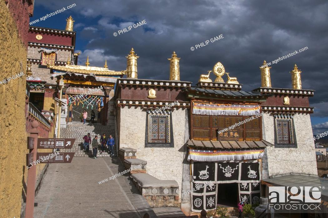 Stock Photo: Ganden Sumtsenling Monastery, also known as Sungtseling or Songzanlin, is a Tibetan Buddhist monastery outside Zhongdian in Yunnan province, China.