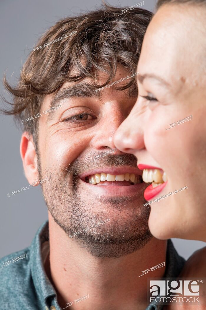 Stock Photo: Mid-adult couple laughing.