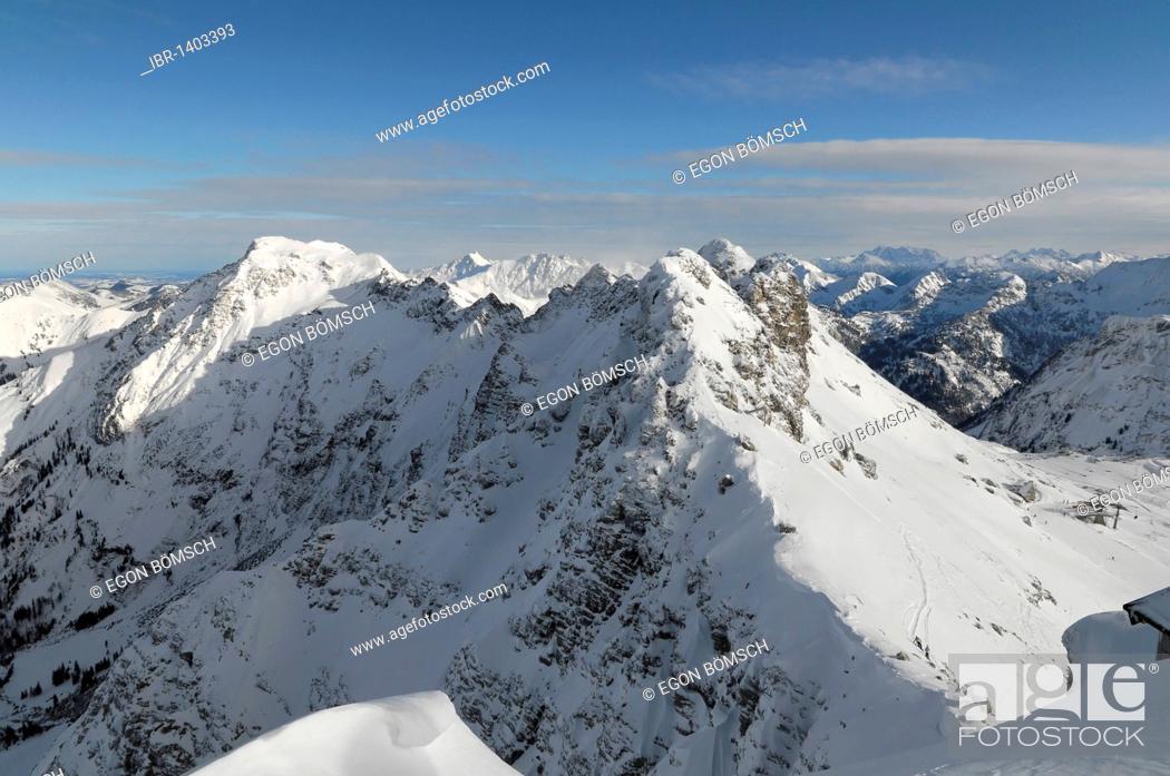 Stock Photo: Mountain panorama from the summit, Nebelhorn, 2224m, Oberstdorf, Allgaeu, Bavaria, Germany, Europe.