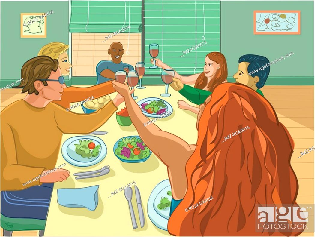 Stock Photo: dinner party.