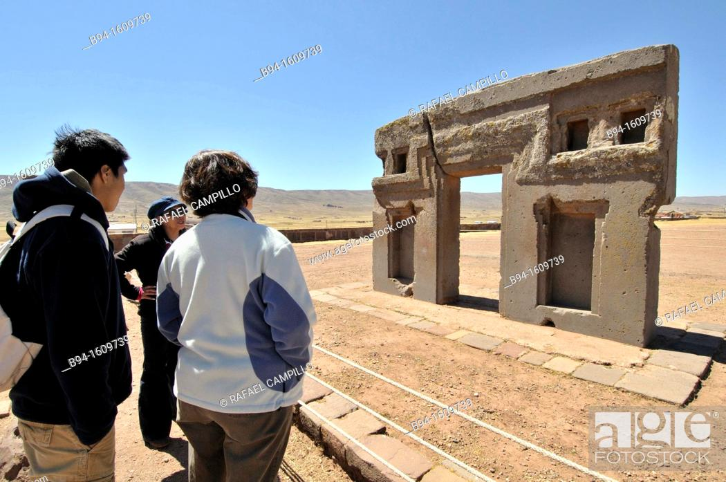 Stock Photo: So-called Gate of the Sun is a megalithic solid stone arch or gateway constructed by the ancient Tiwanaku culture of Bolivia over 1500 years before the present.