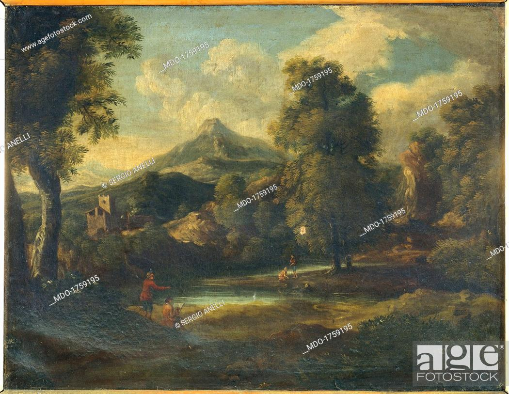 Landscape with Figures and a painter, by Unknown Flemish - Dutch