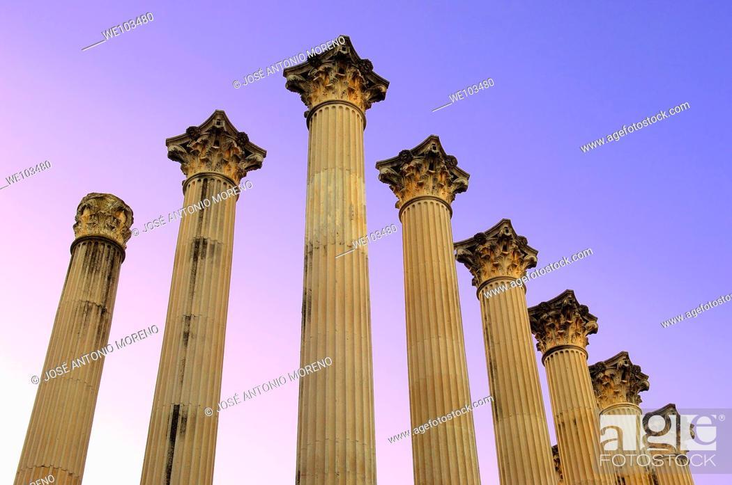 Stock Photo: Columns of Roman temple, Cordoba, Andalusia, Spain.