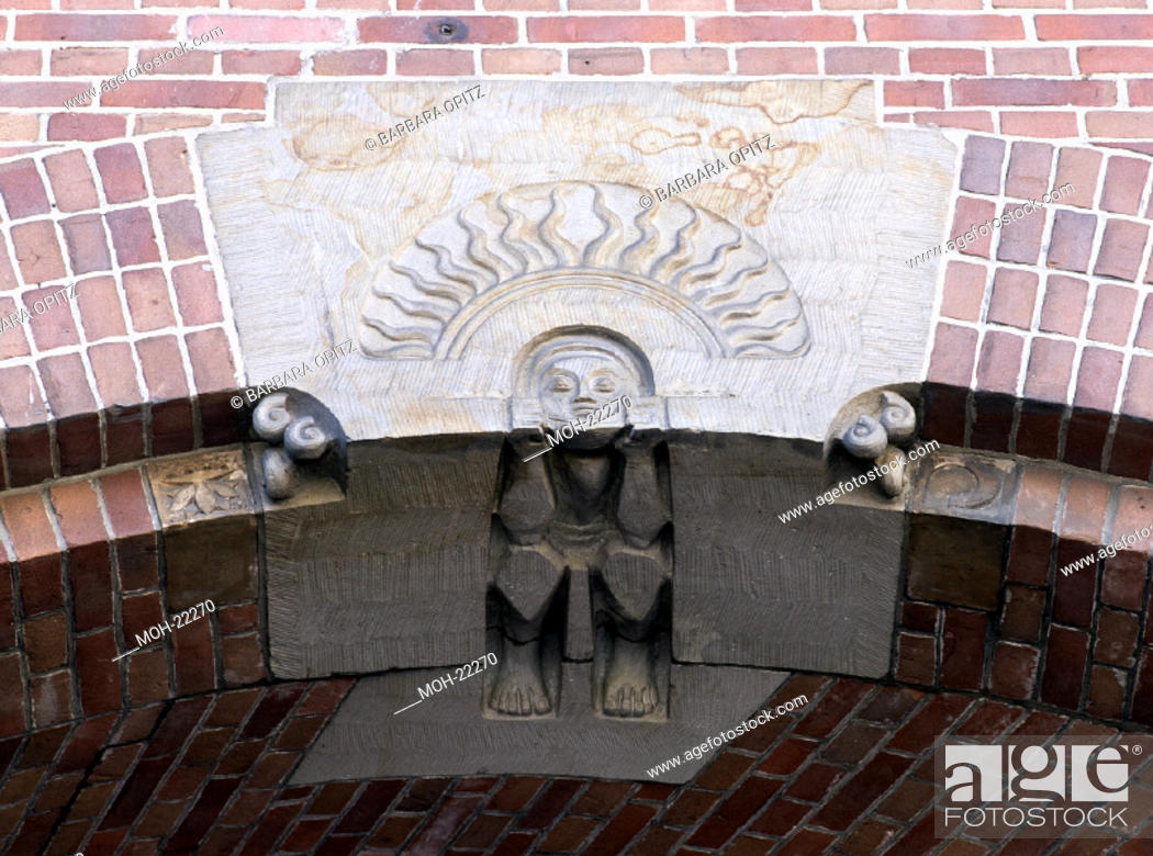Amsterdam, Börse von Berlage/Detail über dem Eingang, Stock Photo