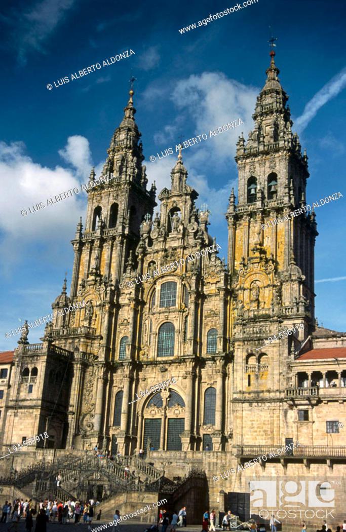 Stock Photo: Santiago cathedral. Santiago de Compostela. La Coruña province. Galicia. Spain.