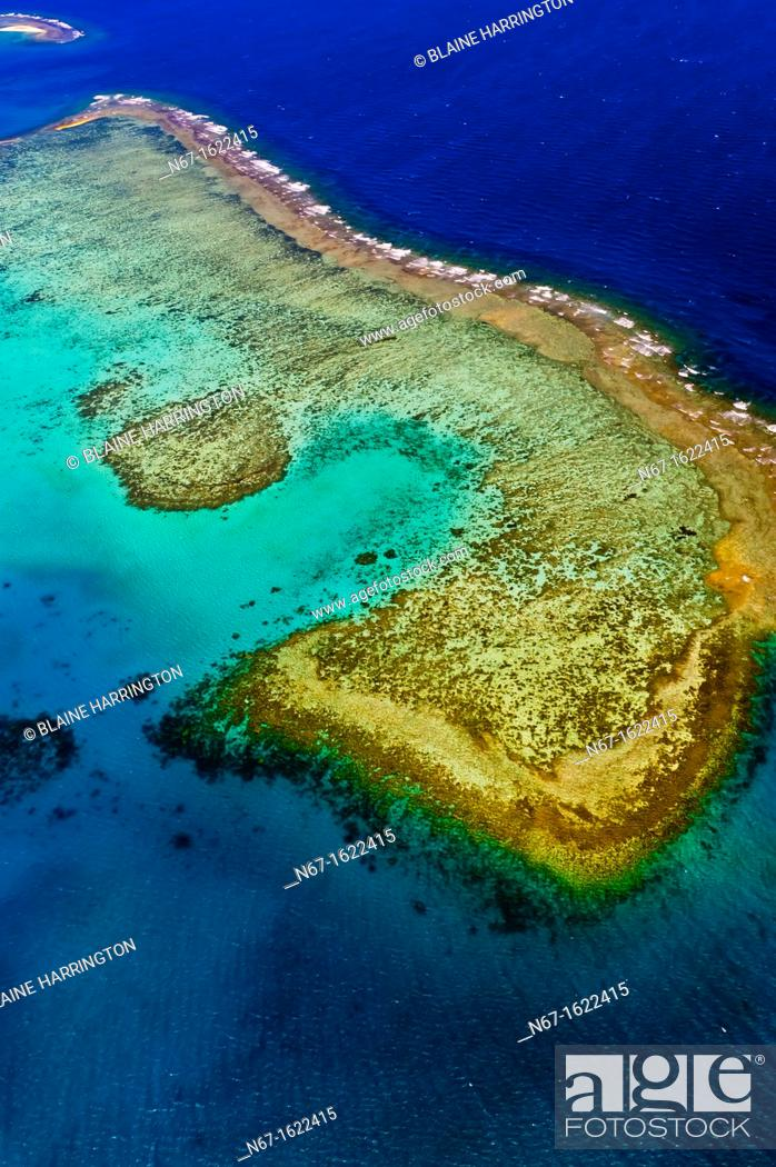 Stock Photo: Aerial view, New Caledonia Barrier Reef a UNESCO World Heritage site, near Noumea, New Caledonia.