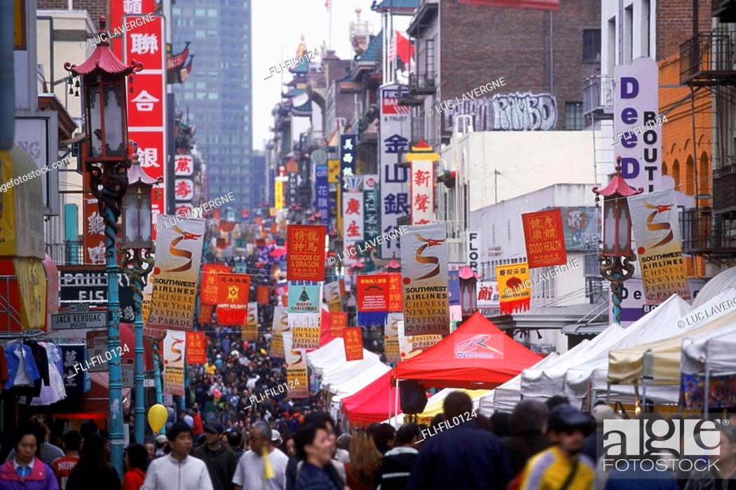 Stock Photo: Chinatown Streetscape, San Francisco, California.