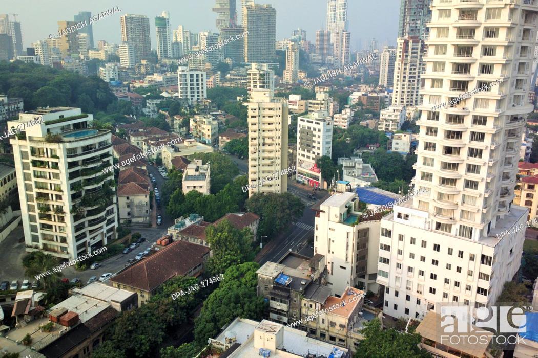 Stock Photo: Aerial view, Chowpatty, Girgaon, Mumbai, Maharashtra, India, Asia.