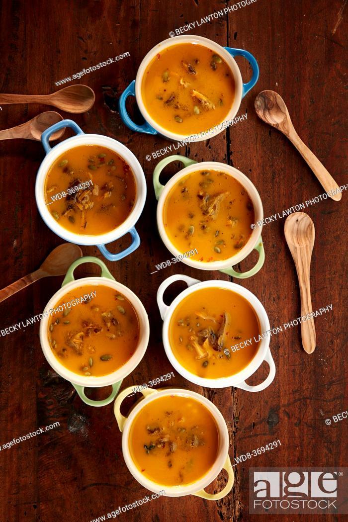 Stock Photo: Pumpkin Cream with Mushrooms.