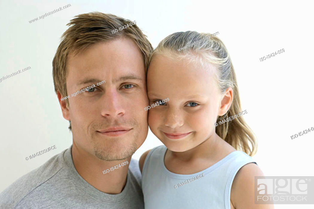 Stock Photo: Portrait of a father and daughter.