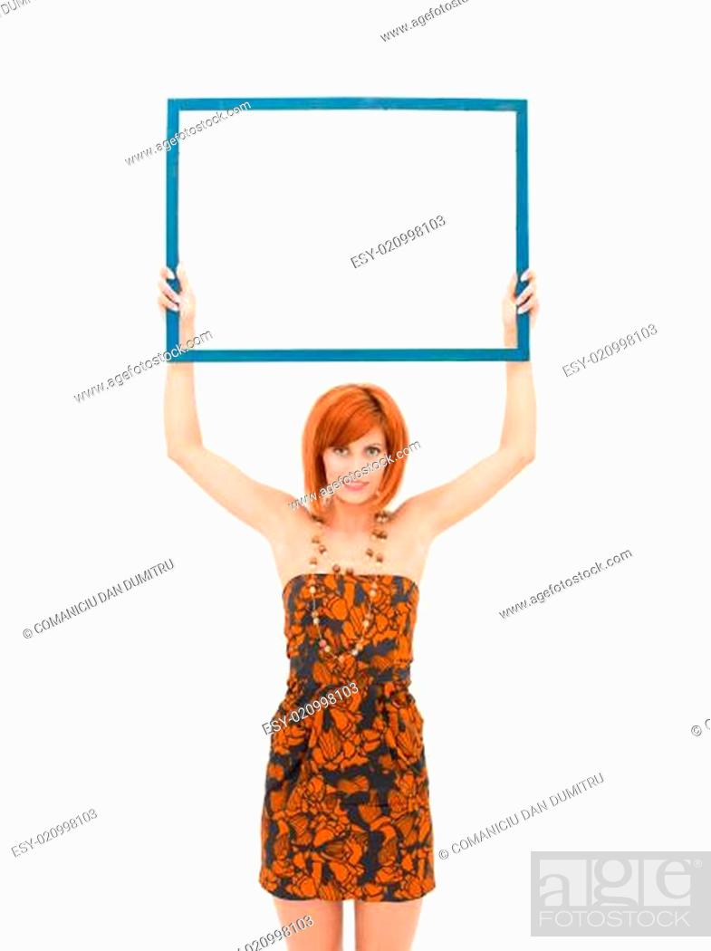 Stock Photo: woman presenting an empty frame.