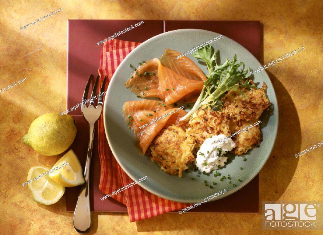 Stock Photo: Sauerkraut patties with smoked salmon.