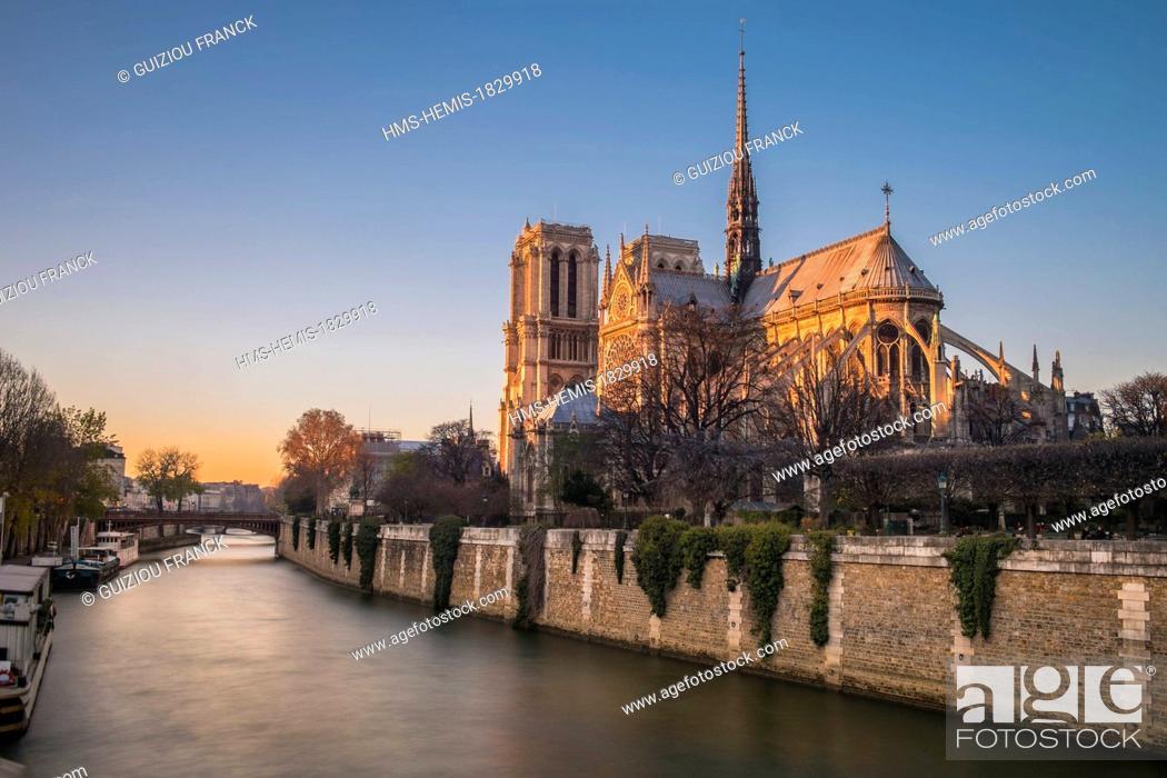 Stock Photo: France, Paris, area listed as World Heritage by UNESCO, Notre-Dame de Paris cathedral, Ile de la Cite.