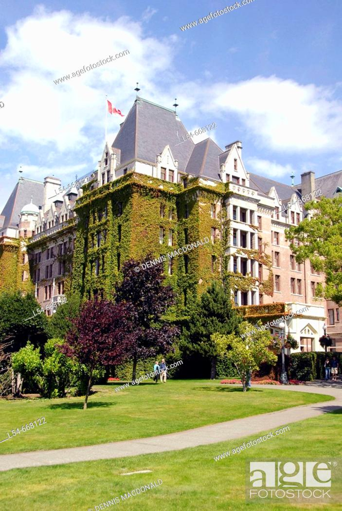 Stock Photo: Fairmont Empress Hotel Victoria British Columbia BC Canada motel lodge accommodations travel vacation tour tourism tourist visitor historic ivy old designed by.
