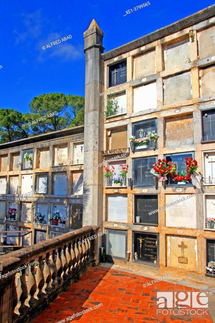 Stock Photo: funerary niches, municipal cemetery of Girona, Catalonia, Spain.