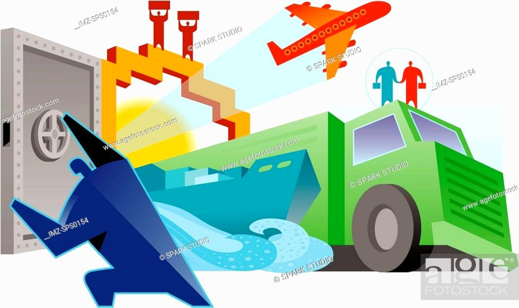 Stock Photo: An illustration of land, sea and air transport.