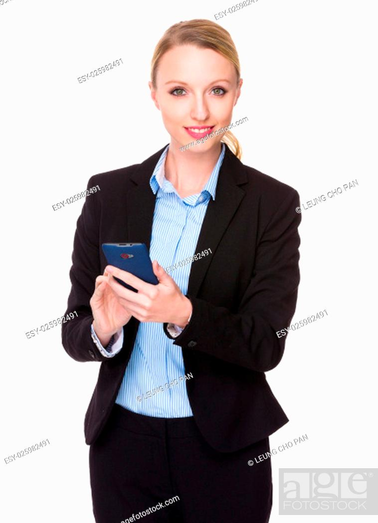 Stock Photo: Caucasian young businesswoman use of the cellphone.