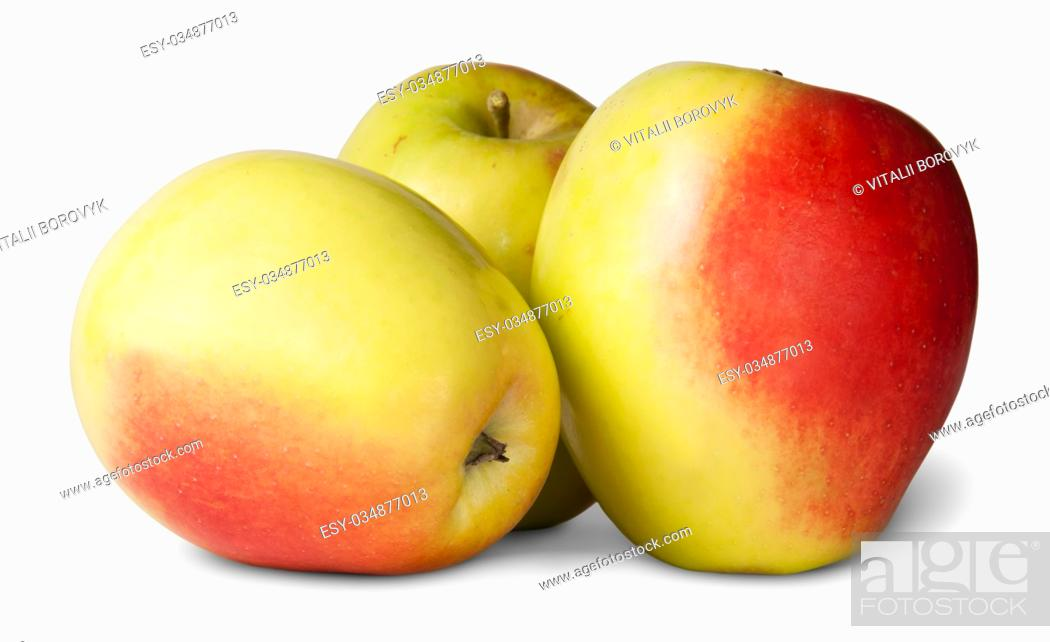 Stock Photo: Three Red And Yellow Apple Isolated On White Background.